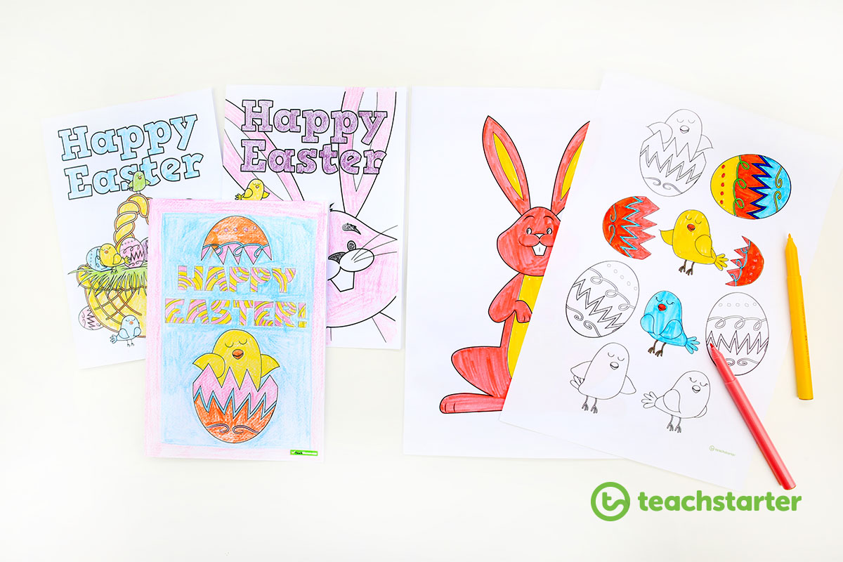 Printable Easter Cards and Colouring In Sheets