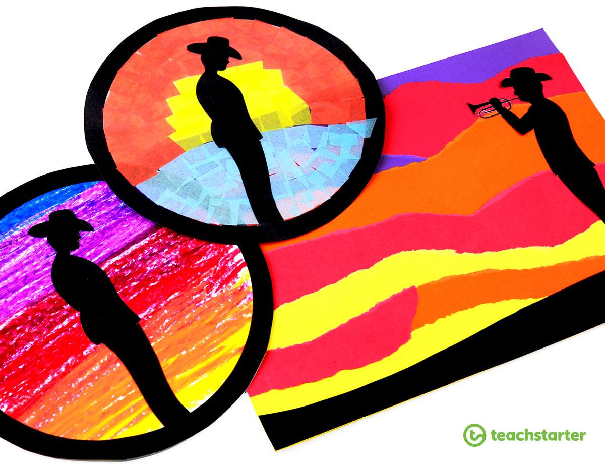 Anzac Day Silhouette Art Templates