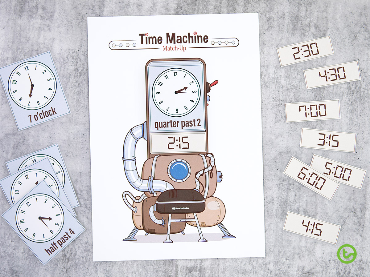 Time Activities and Resources - Time Machine Match-Up Activity