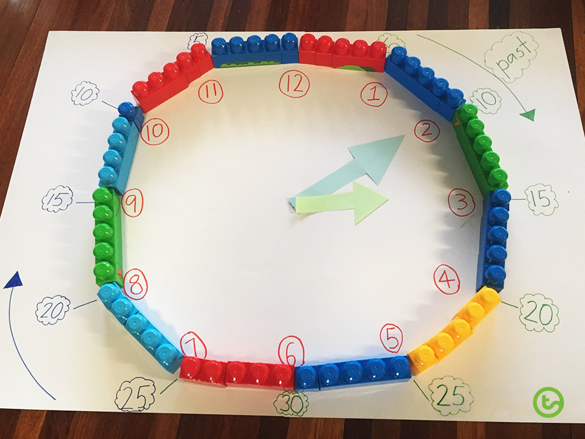 Create a clock face with LEGO