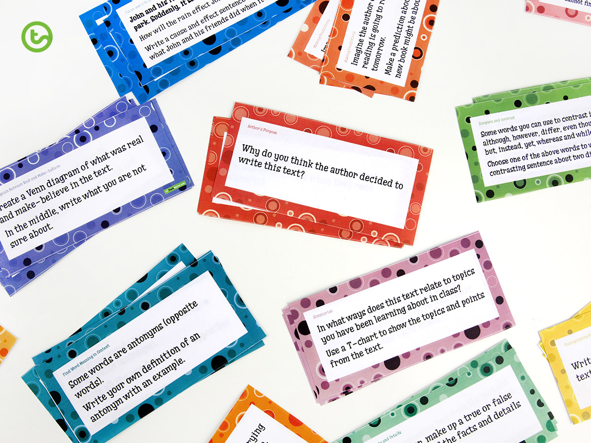 120 Comprehension task cards for the teacher