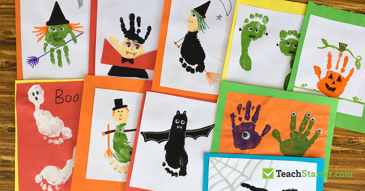halloween crafts for kids footprint and handprint activity