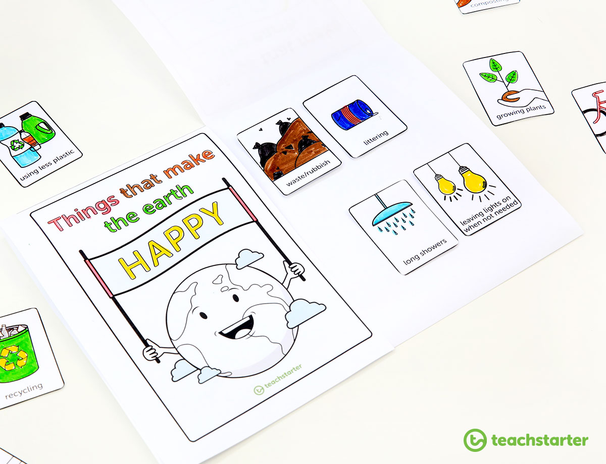 Things that make the earth happy - flip book and colouring activity