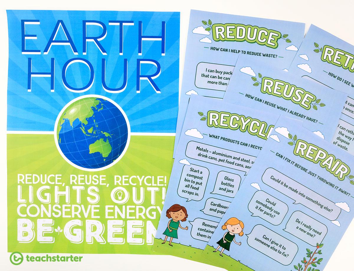 Classroom Pledge Ideas ~ Earth hour printable classroom activities and
