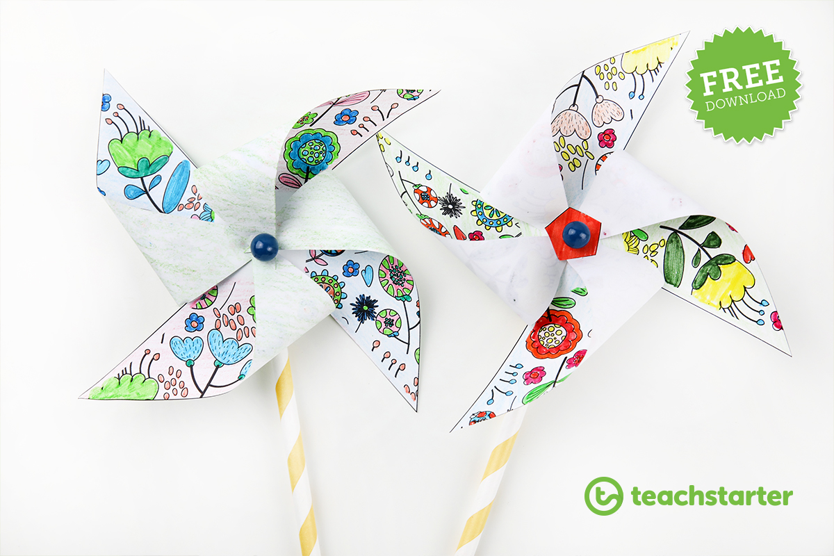 Pinwheels with a mindfulness colouring in pattern