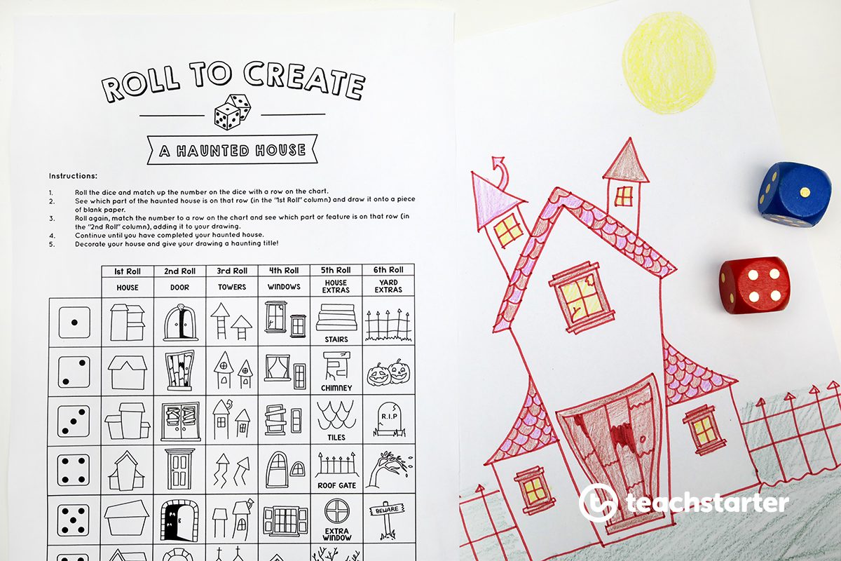 Roll to Create a Haunted House - Halloween teaching resource