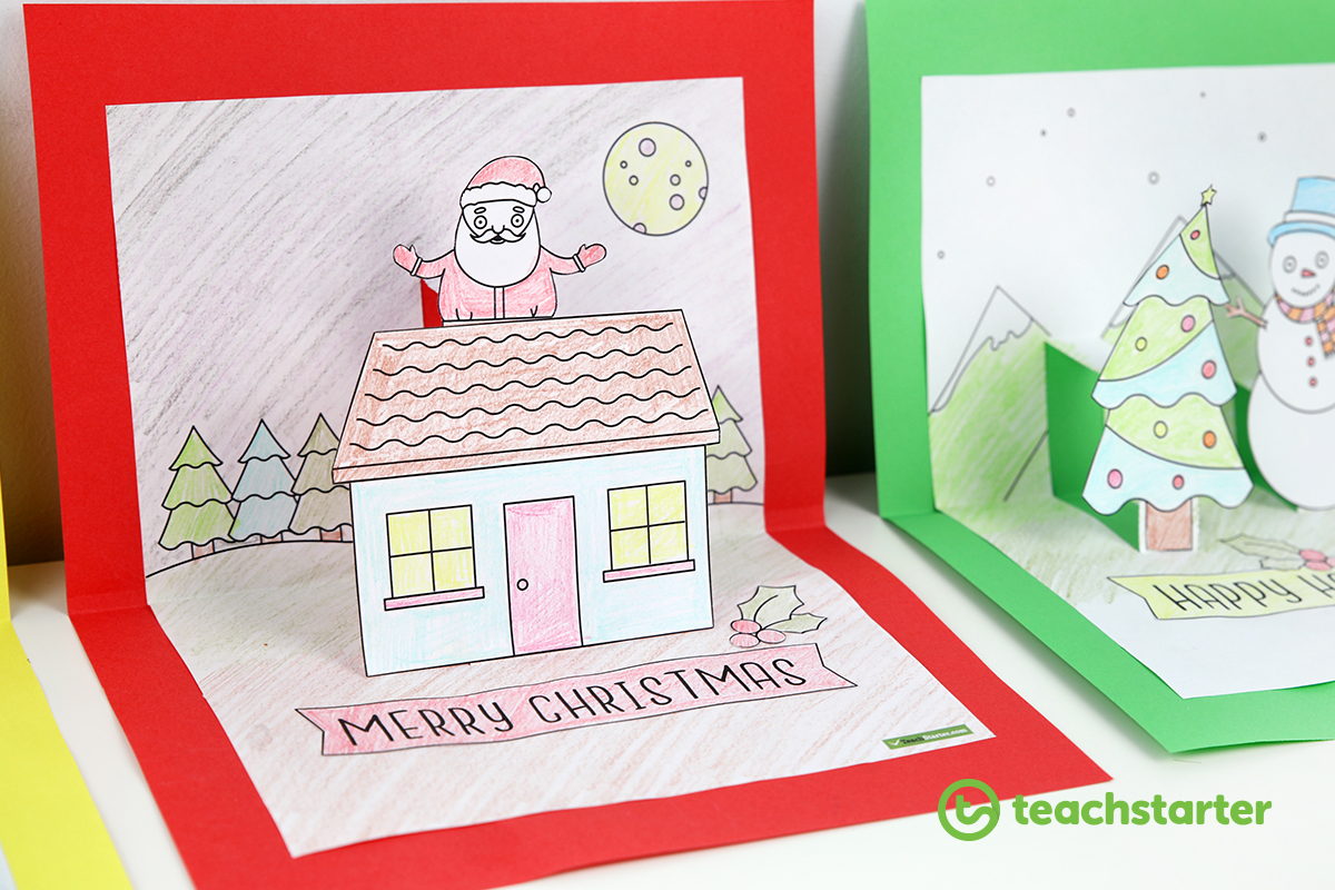 Christmas craft summer and winter pop up card templates for Pop up storybook template