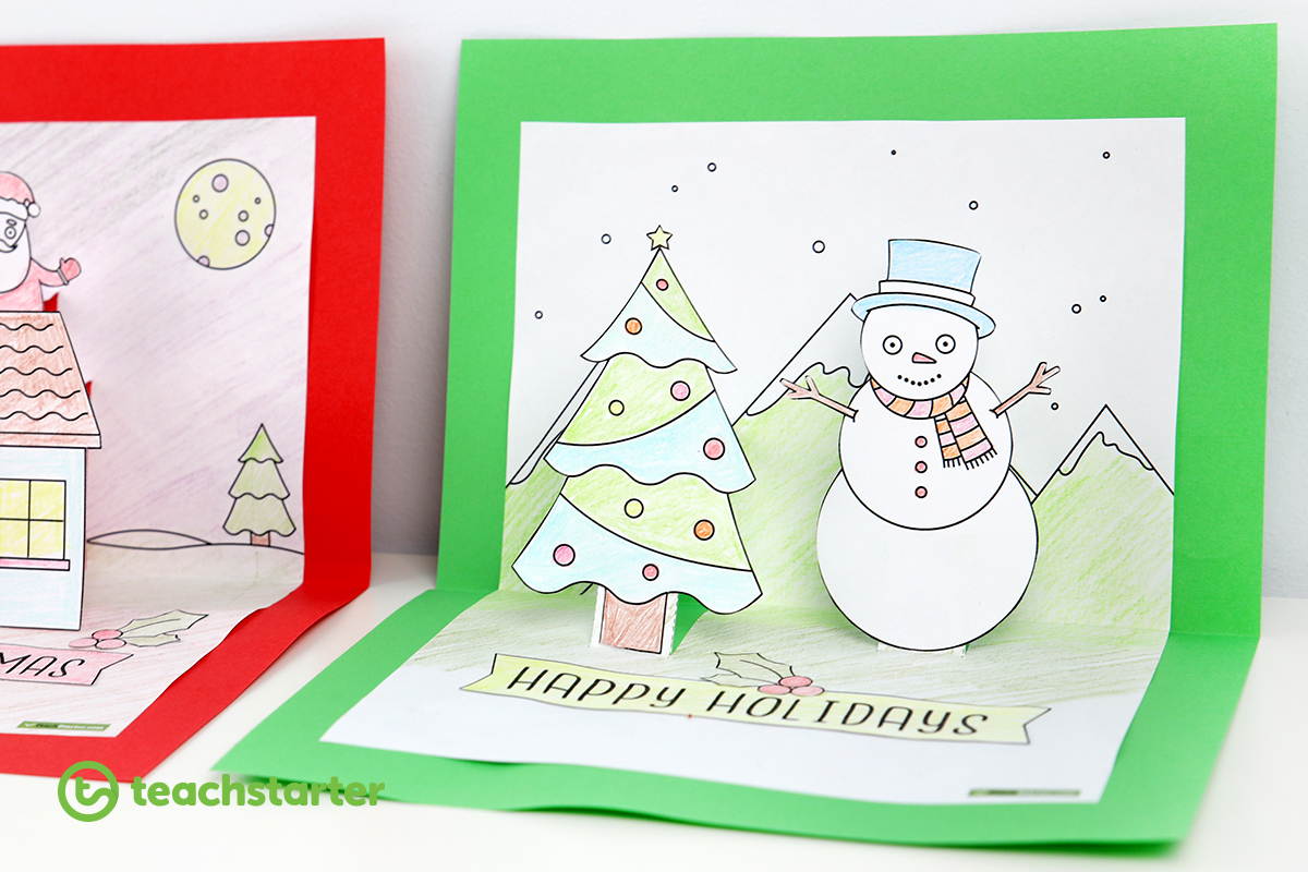 Christmas Craft Summer And Winter Pop Up Card Templates