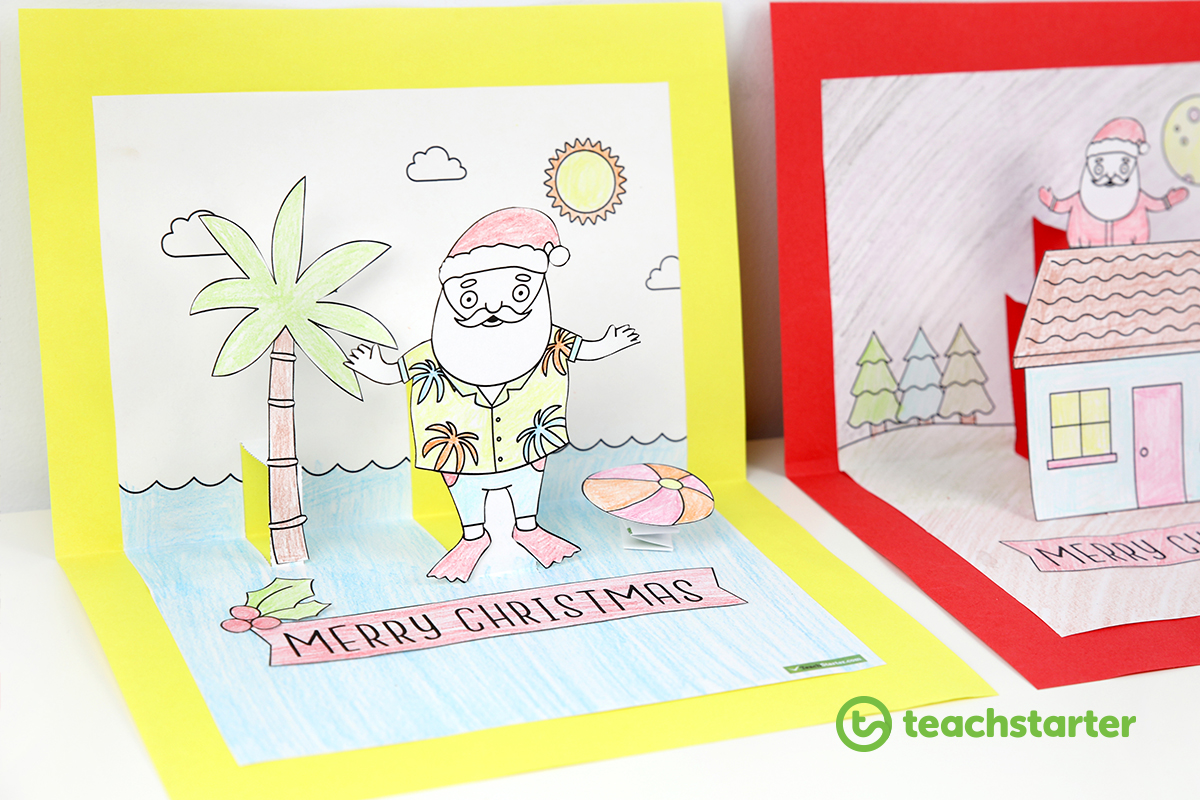 Christmas Craft - Summer and Winter Pop Up Card Templates