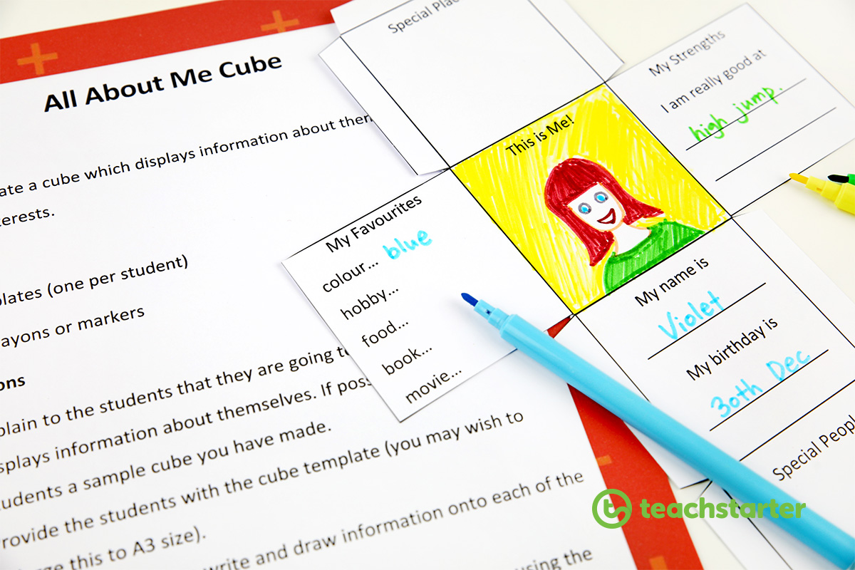 All about me cube - first week of school activity