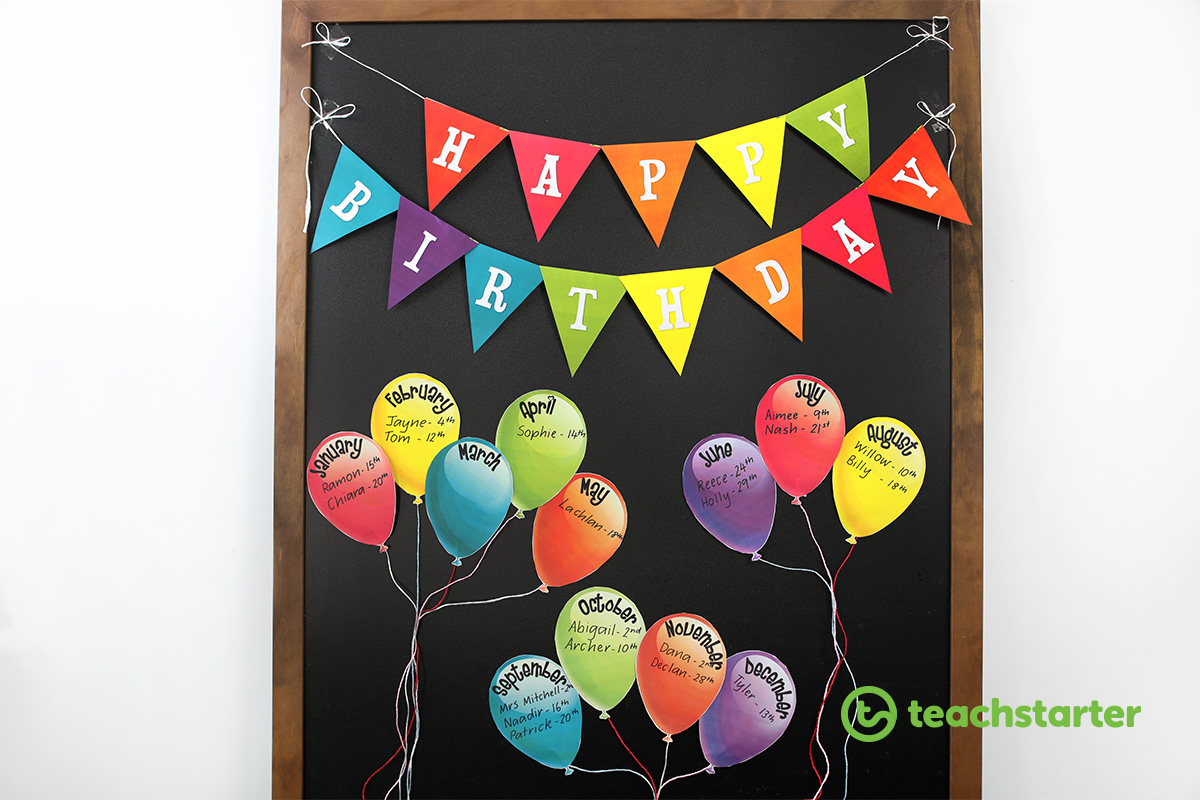 Rainbow Balloons birthday wall idea