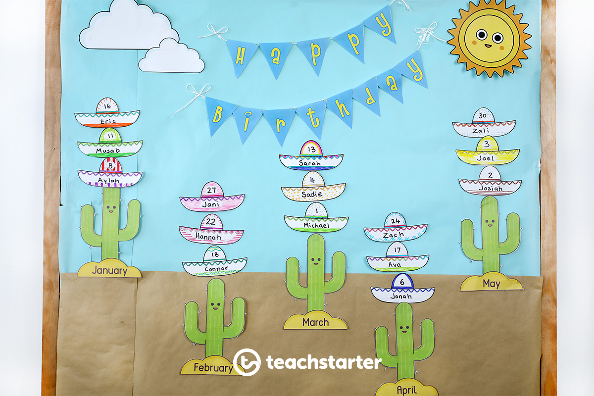 Cactus and Sombrero Themed Birthday Display