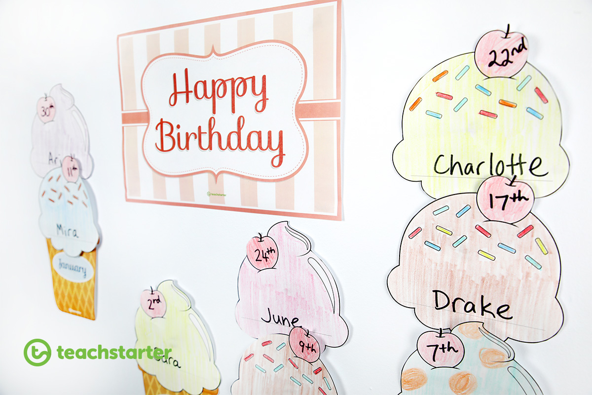 Ice cream themed birthday board ideas