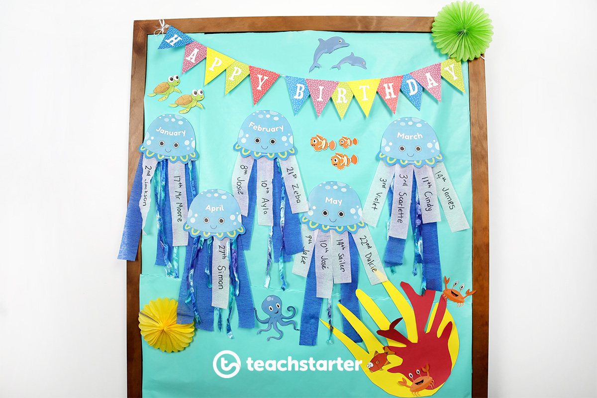 Under the sea themed birthday display wall