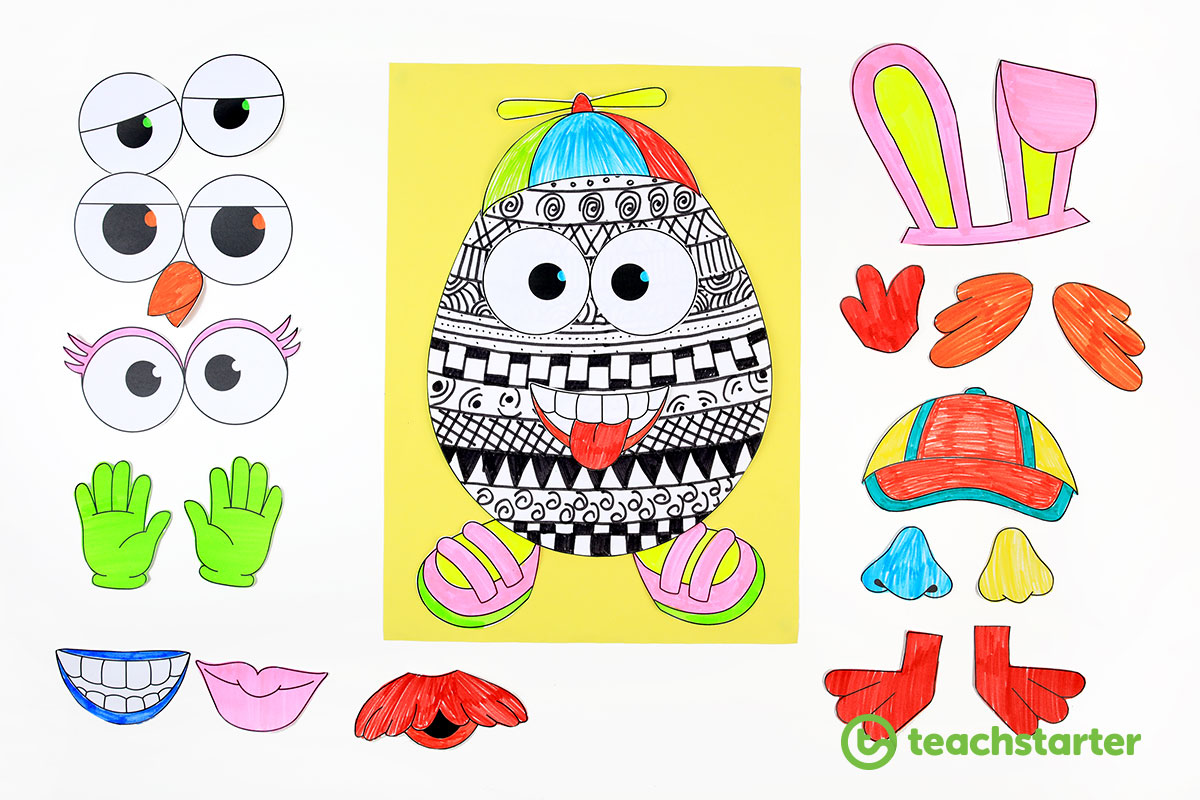 Funky Easter Egg Craft Idea and FREE Printable Template