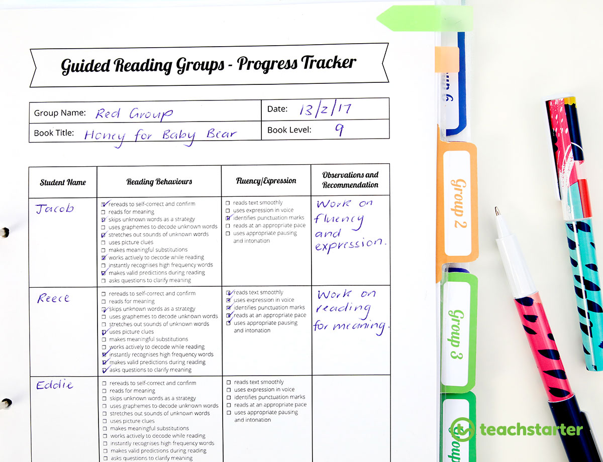 Guided Reading Groups - Progress Tracker Template