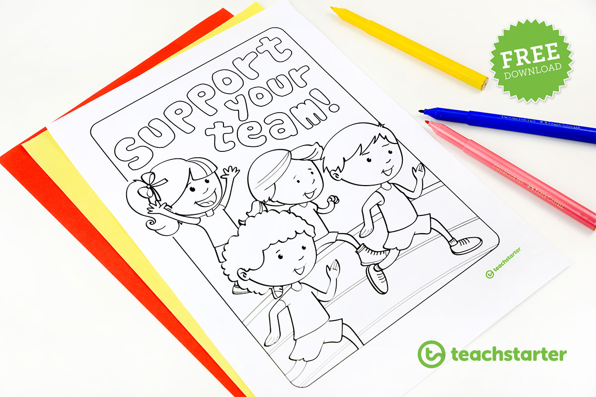 Support Your Team Colouring In Poster