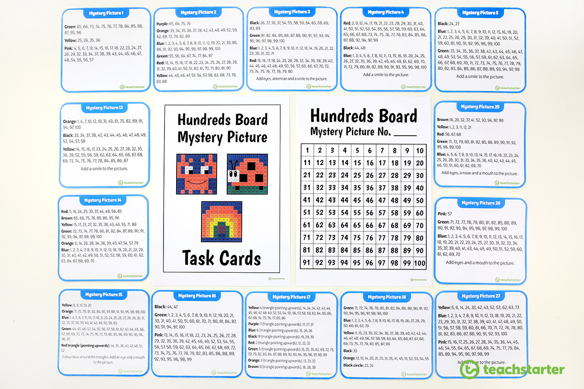 Hundreds Chart Mystery Picture Activity Task Cards and blank hundreds board