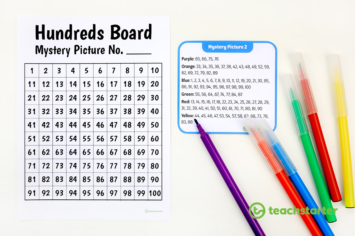 Printable hundreds board and mystery picture task cards