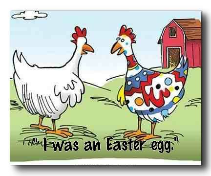 "colourful rooster says ""i was an Easter egg"""