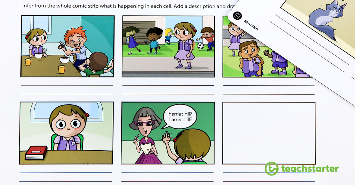 Inference Comic Strip Illustrations Activity and Worksheet
