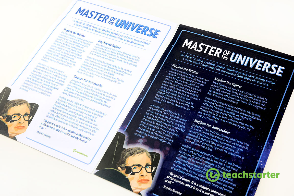 Printable Stephen Hawking Profile Posters for students