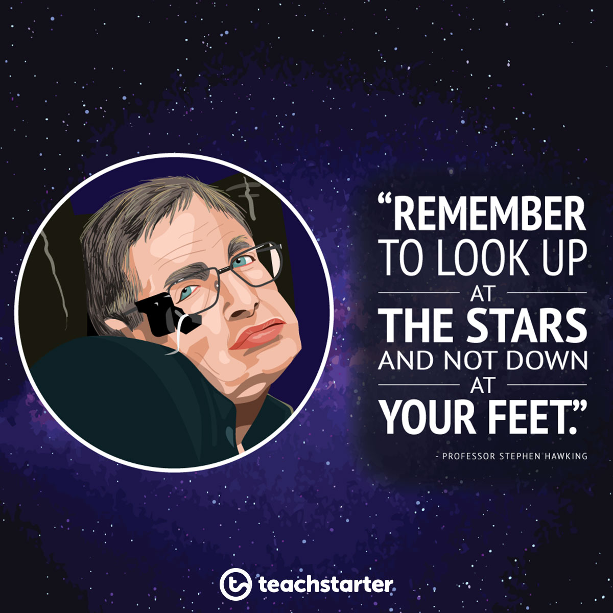 "Stephen Hawking Quote ""Remember to look up at the stars and now down at your feet."""