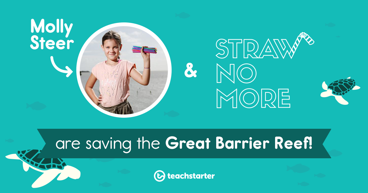 A photo of a young girl holding plastic straws, illustrations of turtles and text that says Molly Steer and Straw No More are saving the Great Barrier Reef!