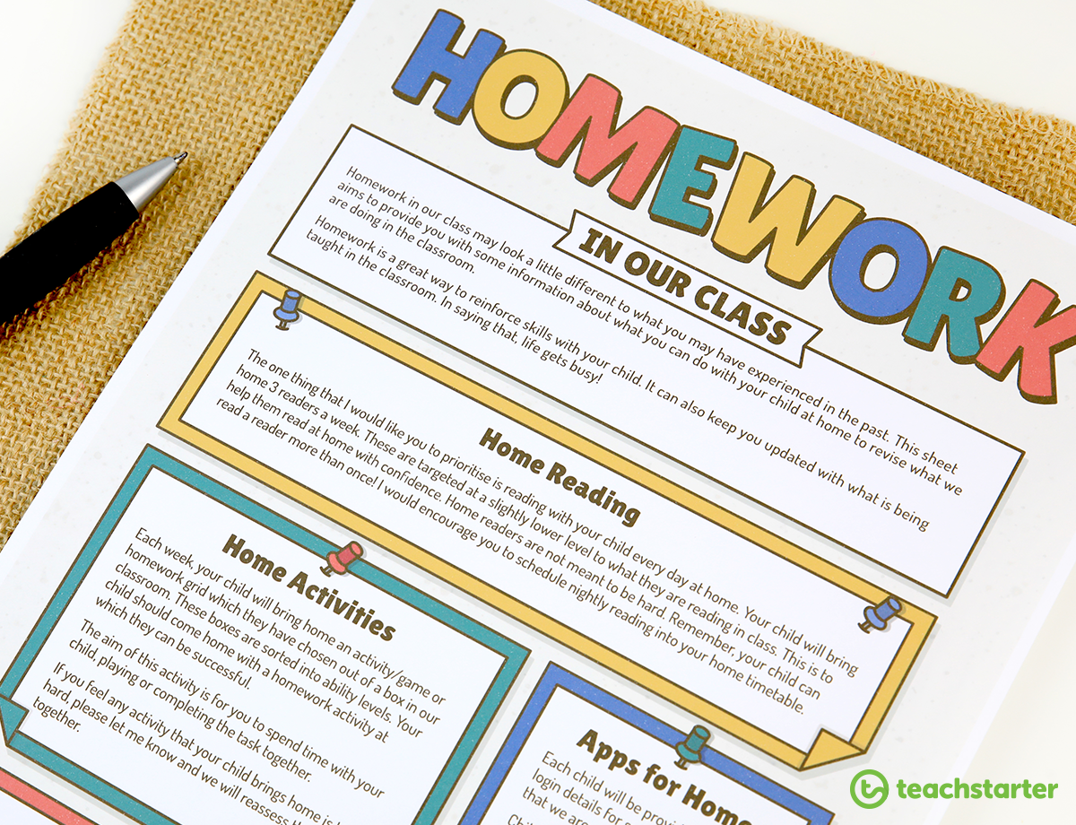 Editable Homework Information Sheet