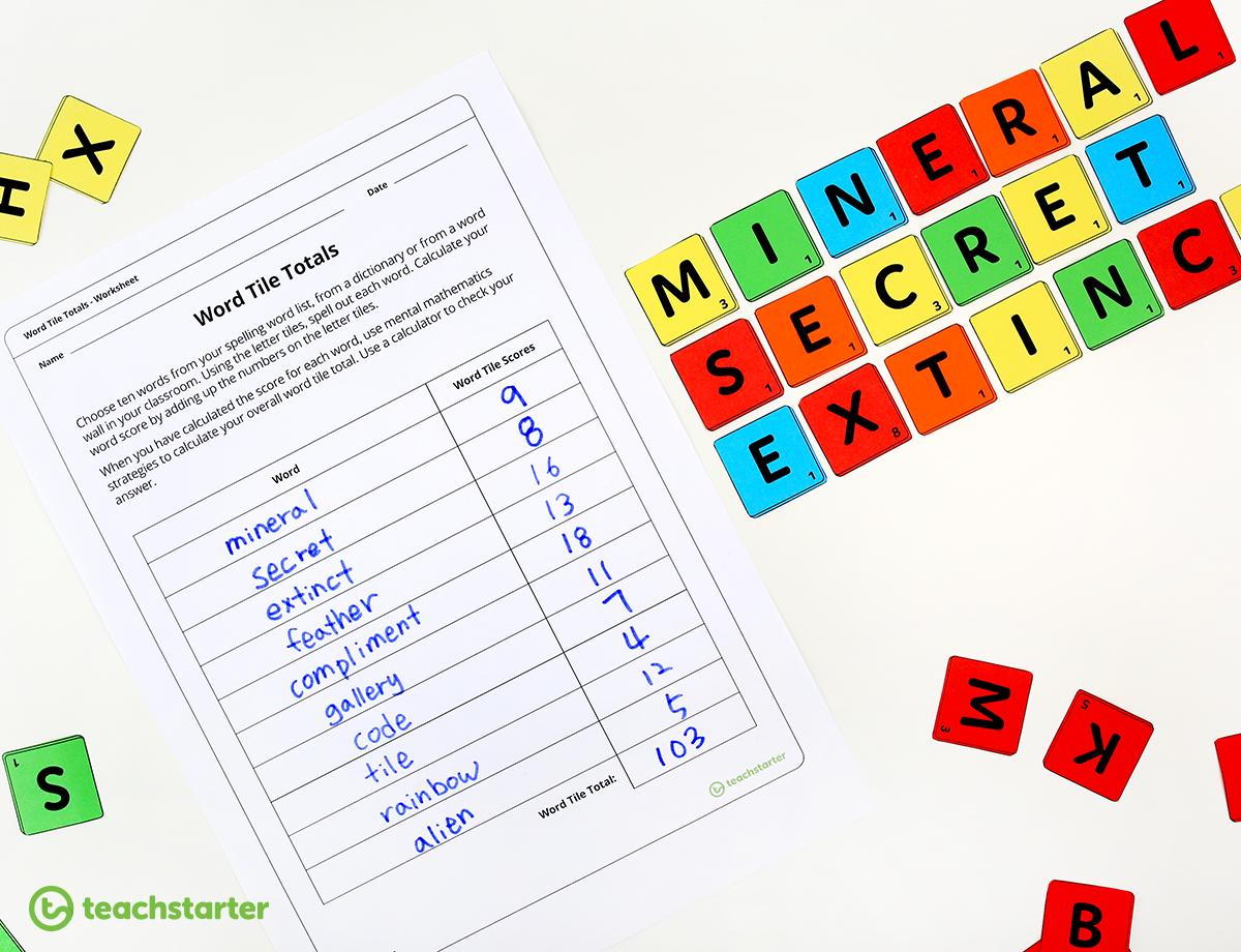 letter tile word adding game