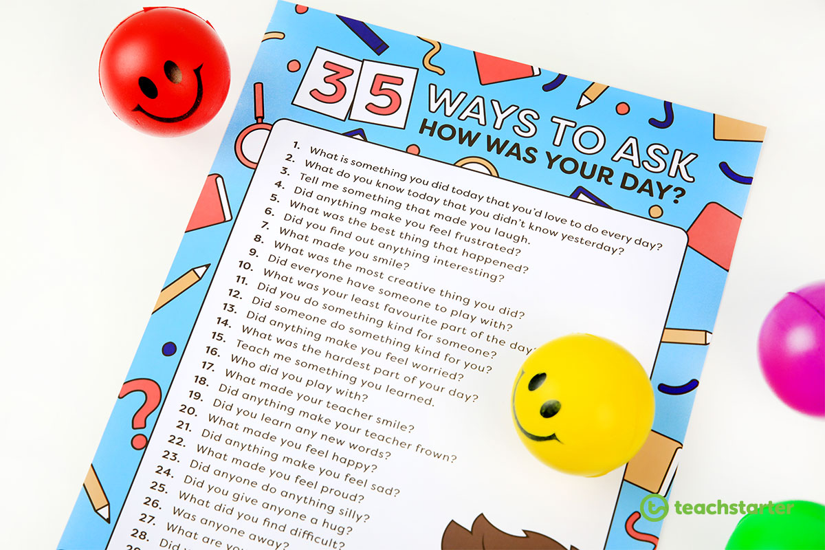 Different ways to ask 'how was your day' free printable poster