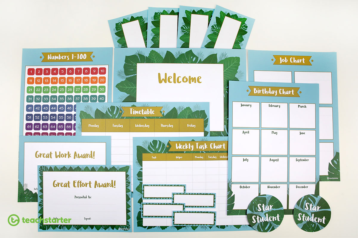 Blue lush leaves classroom theme - printable classroom resources