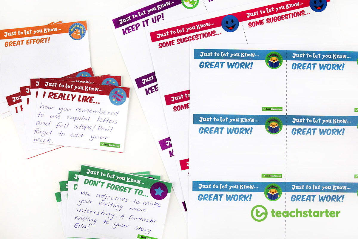 Printable Feedback Notes for Teachers