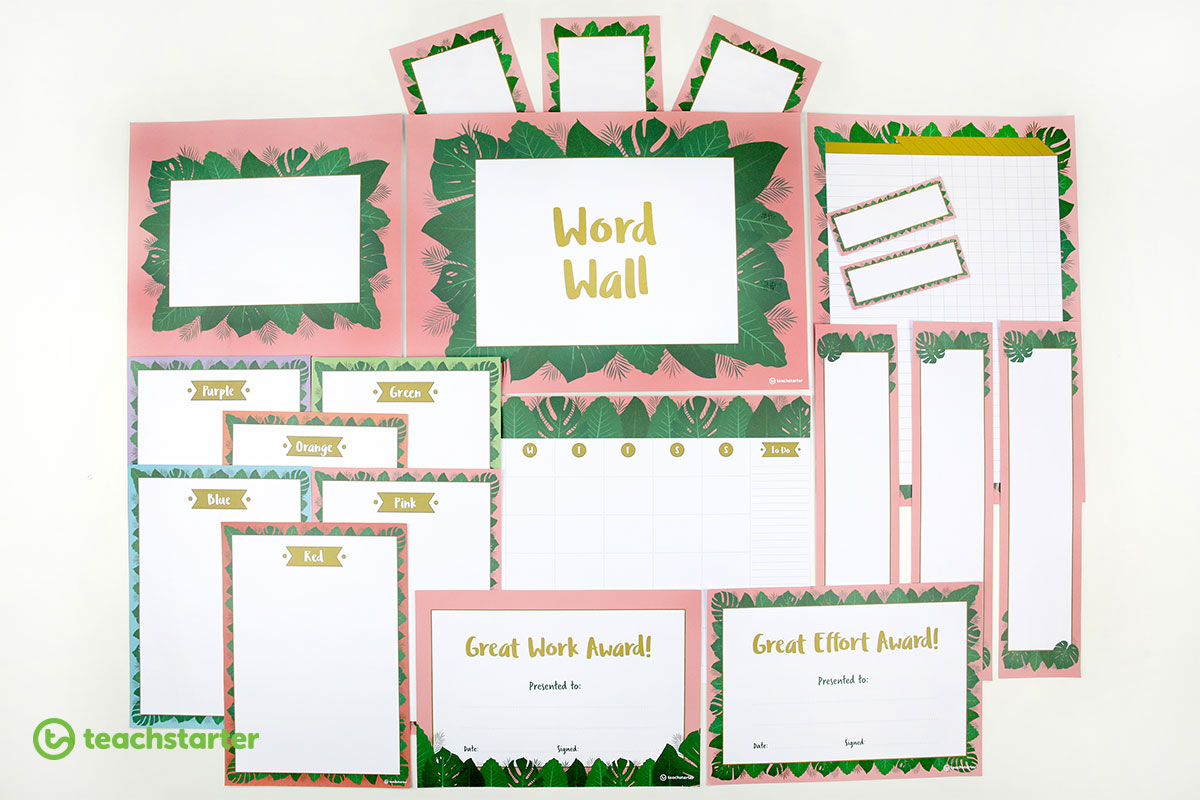 Pink Lush Leaves - printable classroom resources