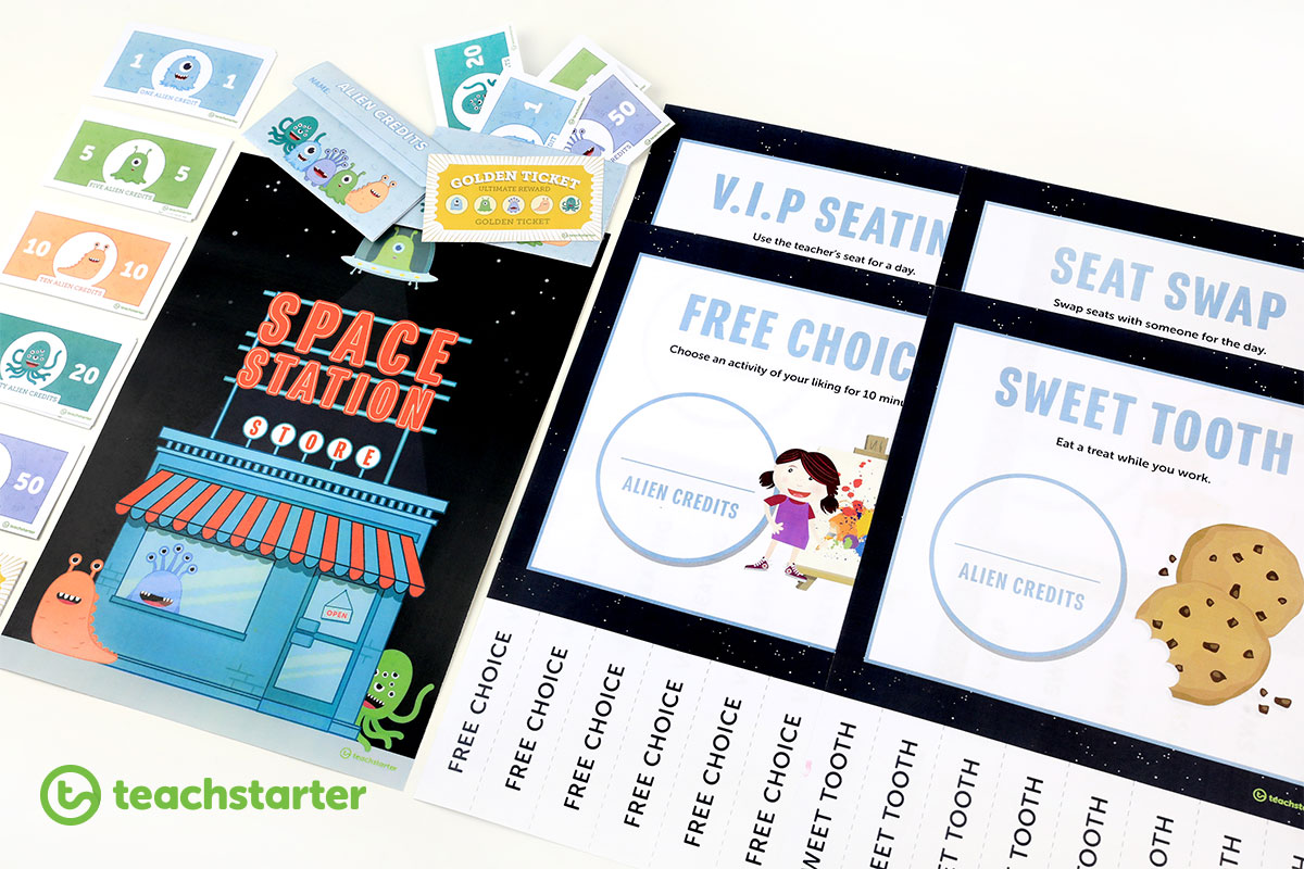 Space Alien Themed Printable Classroom Reward System Idea