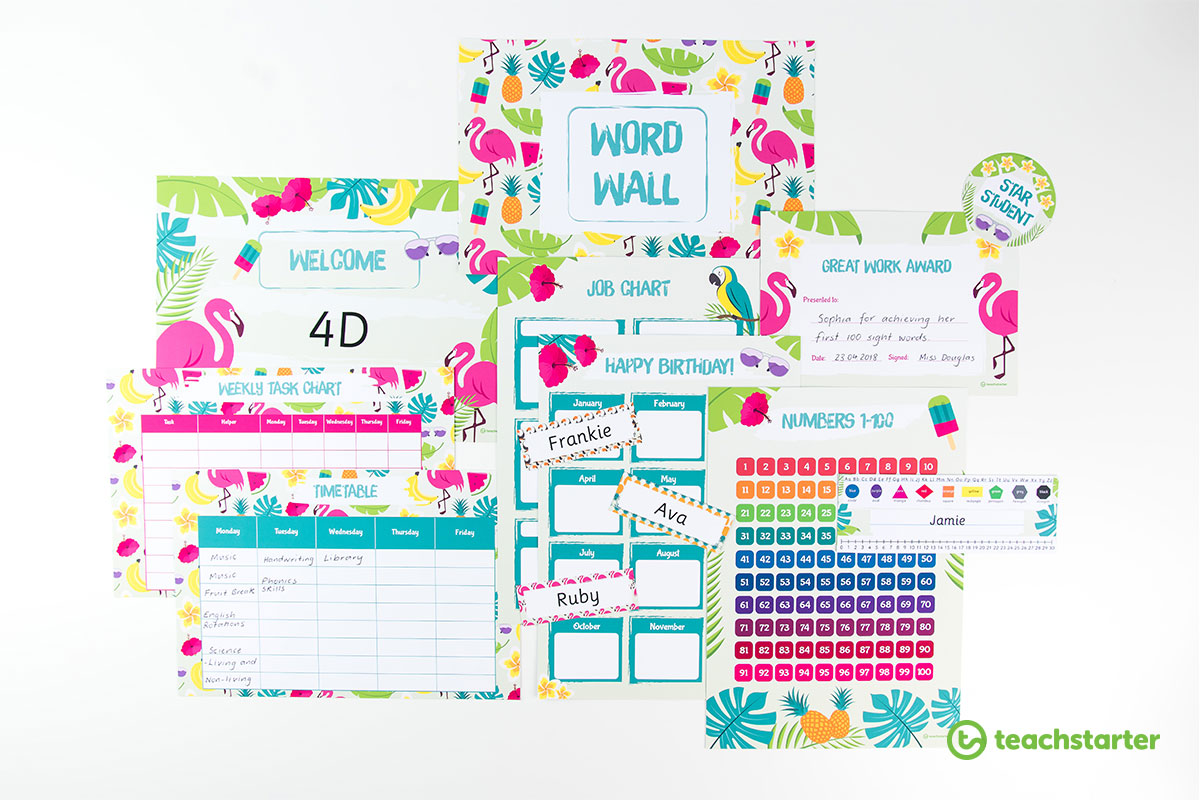 Funky Tropical Paradise Classroom Theme Pack