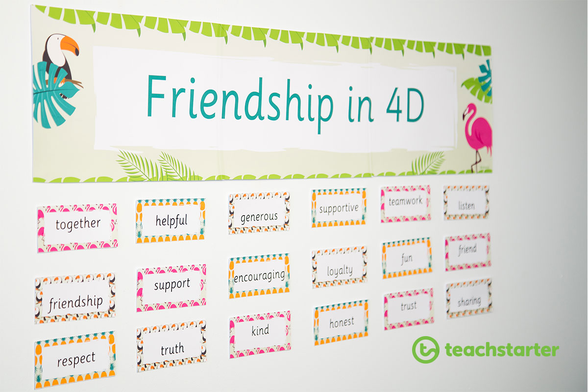 A 'Friendship in 4D' banner with tropical themed word wall cards below the banner.