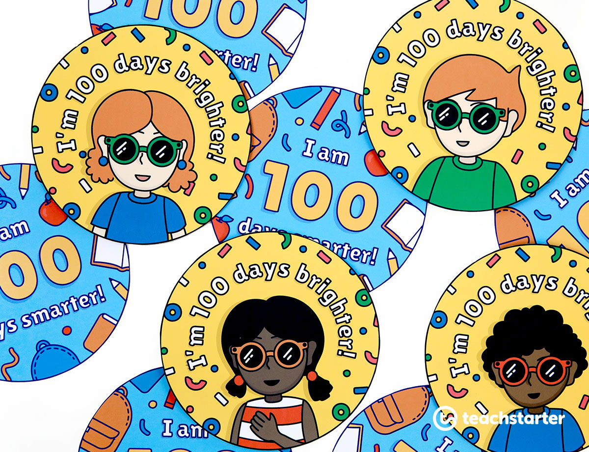 100th Day of School Student Badges