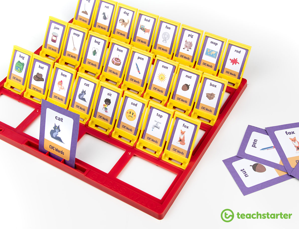 What's My Card? CVC Words Board Game