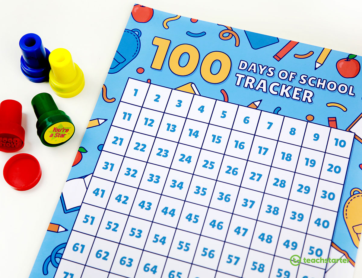 100 Days of School Tracker Poster