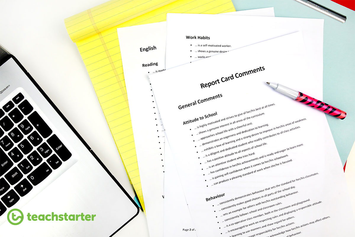 free printable report card comments