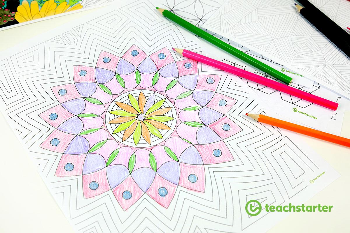 a circular mandala-inspired mindfulness colouring sheet