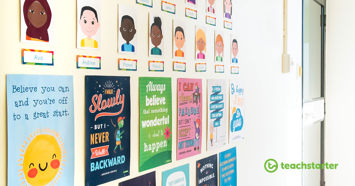 printable positivity posters for the classroom on a wall with student avatars above