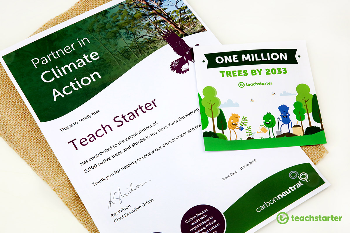 Teach Starter certificate for planting trees in the Yarra Yarra with Carbon Neutral