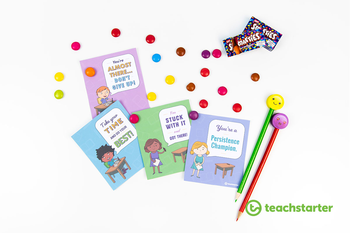 smarties and pencils with testing encouragement certificates