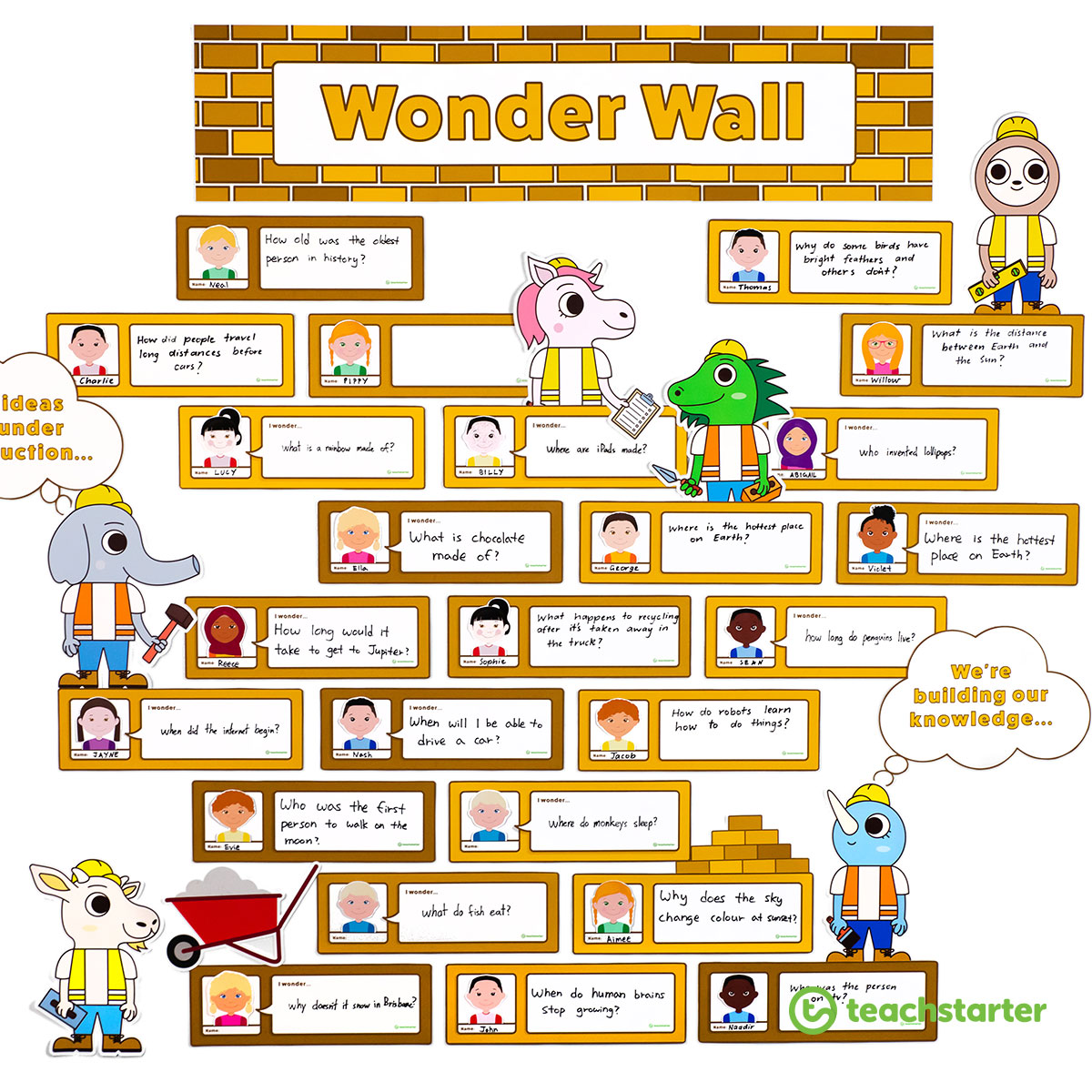 printable wonder wall classroom display with cute animal characters