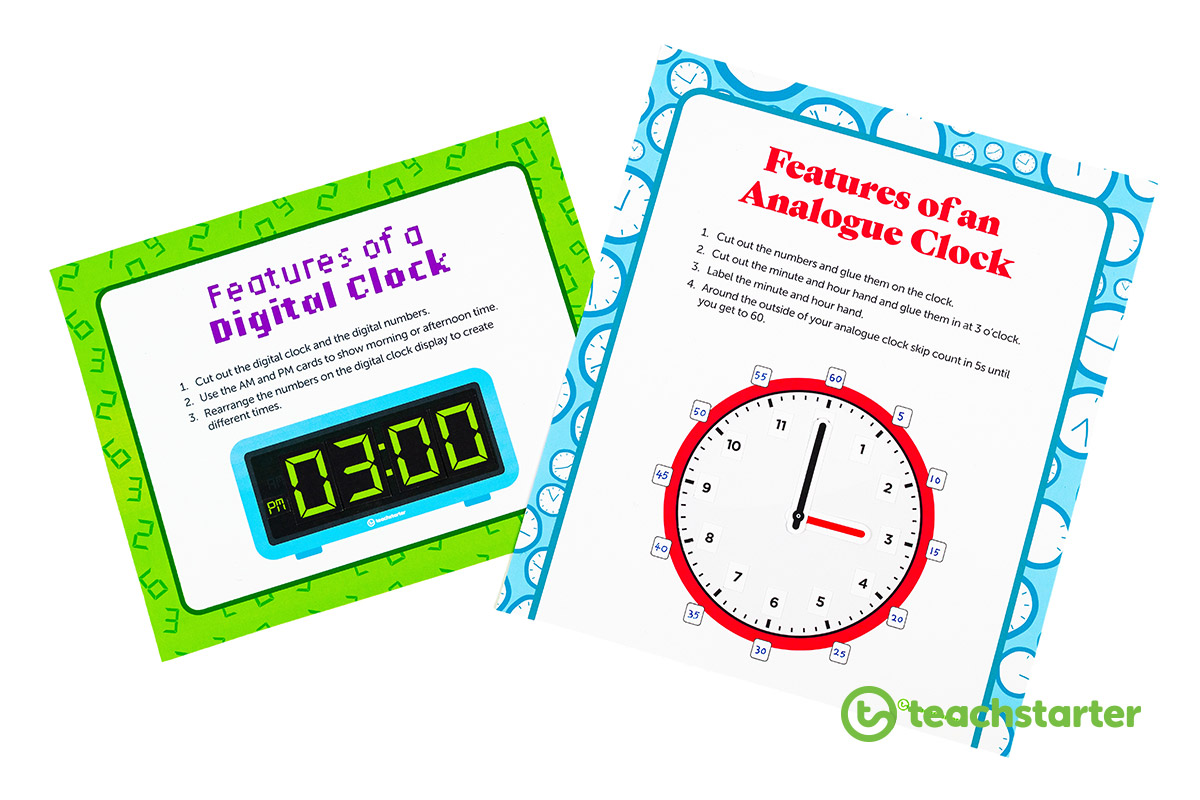 features of analogue and digital clocks