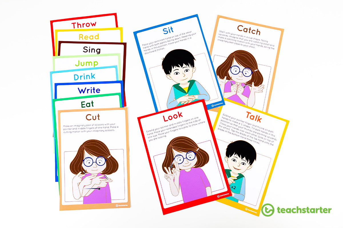 AUSLAN verbs and actions flashcards