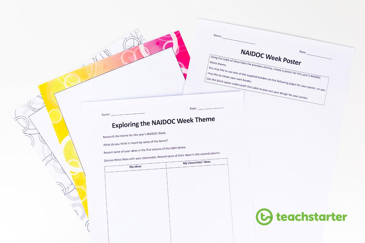 Exploring NAIDOC Week Theme activity and worksheets