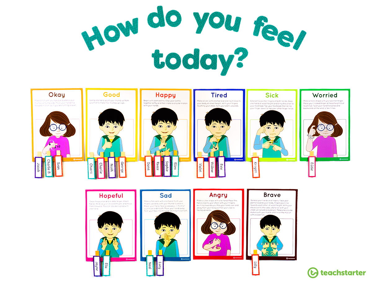 Feelings display for the classroom
